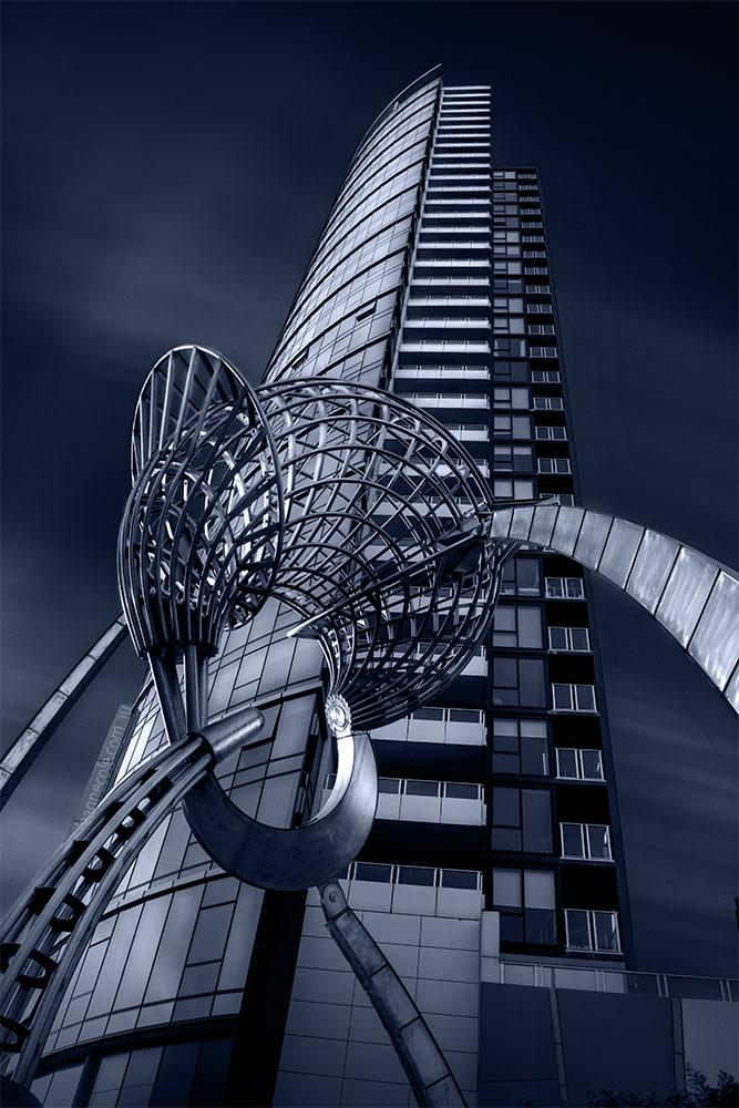 longexposure-architecture-docklands-melbourne-blue